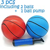 Mini Toy Basketball Pool Basketball Ball Water Inflactable Basketball Poolsport Swimming Pool Game Ball Toy with Pump 3 pack (2 pcs of 5' balls and a Pump) Blue Red