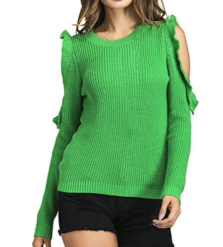 OUFour Primavera e Autunno Donna Maglione Moda Girocollo Spalla Fredda Maglie a Manica Lunga Pullover Sweater Tinta Unita Jumper Maglieria Tops Bluse Verde