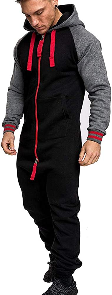 GEMSeven Mens Winter Sport Suits Plus Velvet Warm Rompers Jumpsuits Hooded Fluffy Home Wear Zipper Jumpsuits
