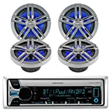 New Kenwood Bluetooth CD MP3 Marine Boat Yacht Bike AUX USB iPod Radio Player Stereo Receiver, 4 X Enrock 6.5'' Inch Black/Chrome Marine Audio Speakers - Great Marine Outdoor Stereo Package
