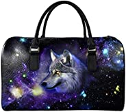 Aoopistc Galaxy Space Wolf Overnight Duffle Bag Extra Large Foldable Weekender Tote Purse Heavy Duty Carry-on