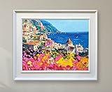Positano Italy Painting Original Art Oil on Canvas Amalfi Coast by Agostino Veroni