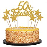 QIYNAO 7 Gold Glittery Fabulous Cake Topper and Five-pointed star, Wedding, Birthday, Anniversary, Party Cupcake Topper Decoration (50& Fabulous)