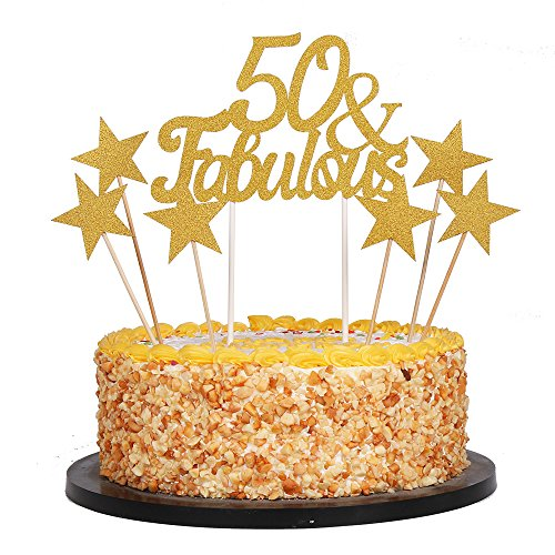 QIYNAO 7 Gold Glittery Fabulous Cake Topper and Five-pointed