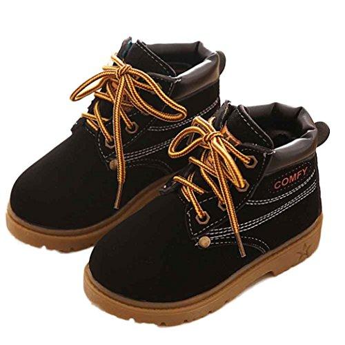 JIANGFU Kinder Winterstiefel warmer Stiefel Martin Stiefel Sehne am Ende von England,Winter Baby Child Army Style Martin Boot Warm Shoes (24, BK)