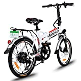 ANCHEER Folding Electric Bike with 36V 8Ah Removable Lithium-Ion Battery, 20 inch Ebike with 250W Motor and 7 Speed Gears Shifter