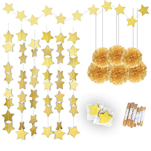 Konsait Gold Twinkle Star Garland 25Feet& Gold Tissue Paper Pom Poms(6pcs), Sparkling Gold Star Banner Bunting and Gold Tissue Paper Flowers for Bridal Baby Showers Birthday Party Hanging Decorations]()