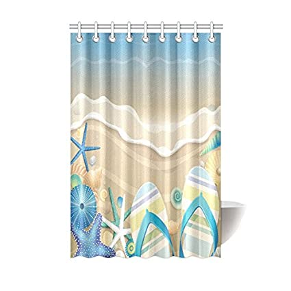 Summer Starfish Flip Flop On Beach Waterproof Bathroom Decor Fabric Shower Curtain Polyester 48 X 72