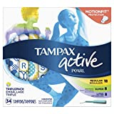 Tampax Pearl Active Plastic Tampons, Multipack, Light/Regular/Super Absorbency, Unscented, 204 Count (Pack of 6) (Packaging May Vary)