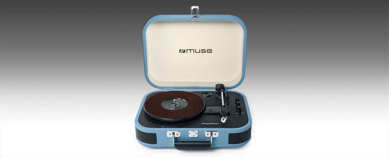 Muse MT-201 BTB Negro, Azul - Tocadiscos (Negro, Azul, 33,45,78 RPM, 5 W, Corriente alterna, 240 V, 50 / 60 Hz)