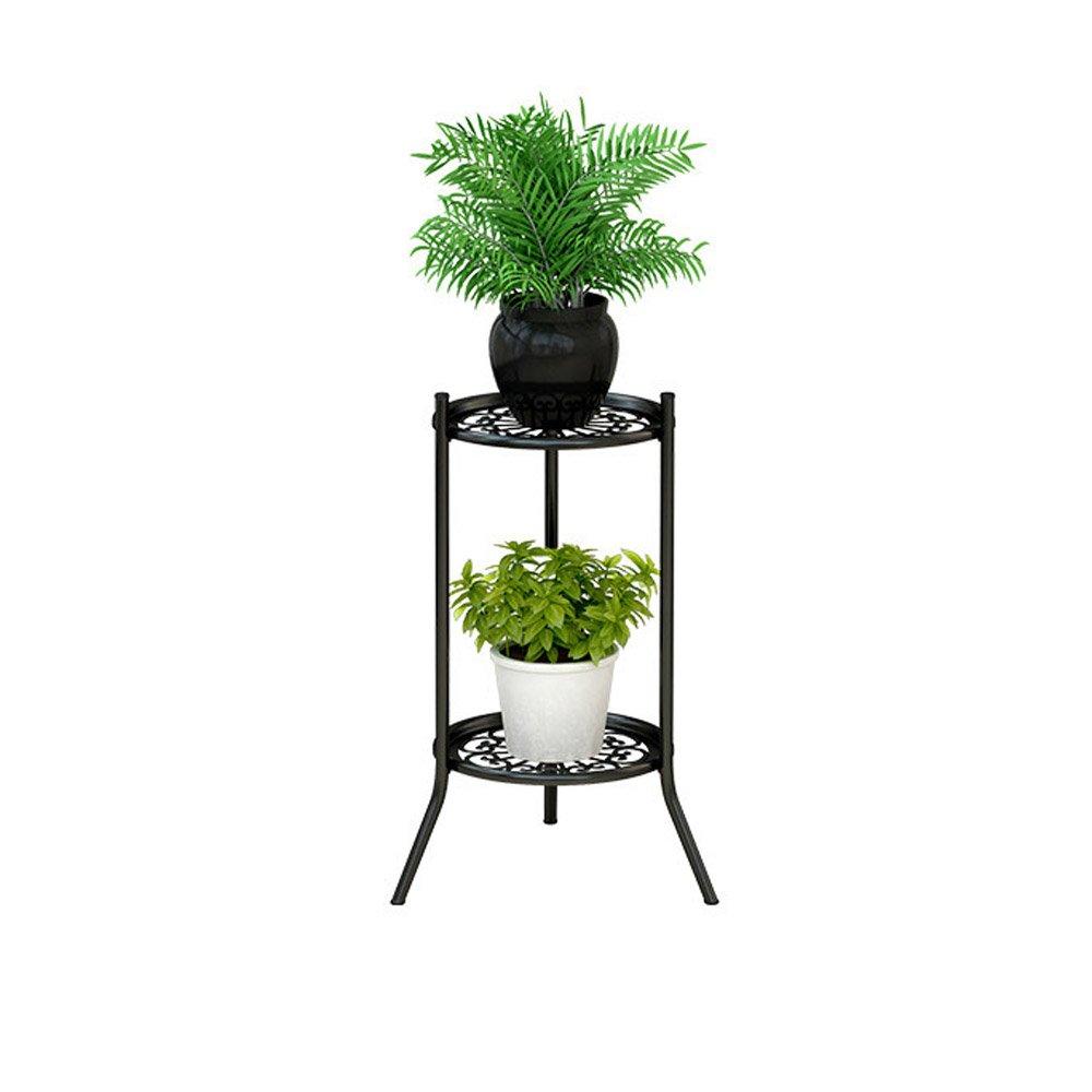 ZB アイアンフラワースタンド2多機能フロアスタンドリビングルームの寝室のバルコニー高低棚花植物ディスプレイスタンド A+ (色 : A) B07QQDFHCR A