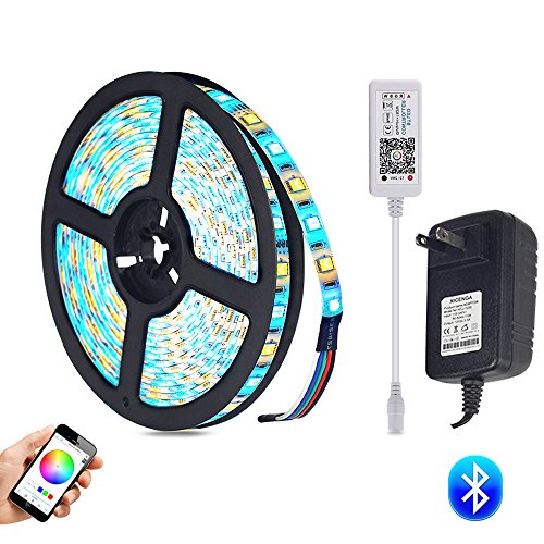 (LAIMAIK RGB LED Strip Light kit with Bluetooth Controller Dimmable + Power Supply IP65 Waterproof SMD 5050 LED Ribbon Tape DC12V with self Adhesive Flexible Strips for Home Lighting)