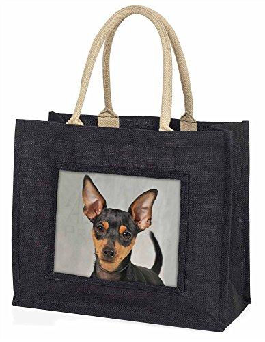 Advanta–Große Einkaufstasche Miniatur Pointer Hund Große Einkaufstasche Weihnachtsgeschenk Idee, Jute, schwarz, 42x 34,5x 2cm