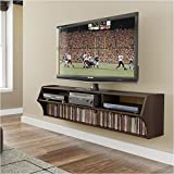 Pemberly Row Plus 58 Floating TV Stand in Espresso