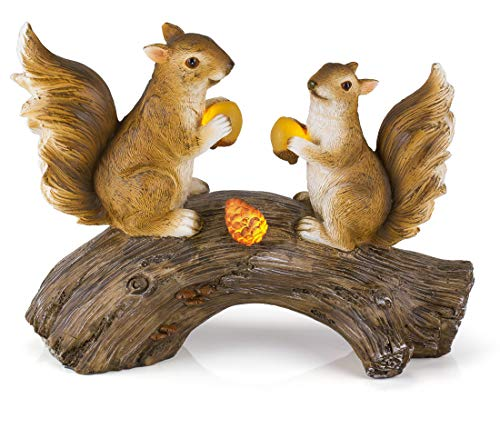 (Squirrels on a Log Solar Garden Light)