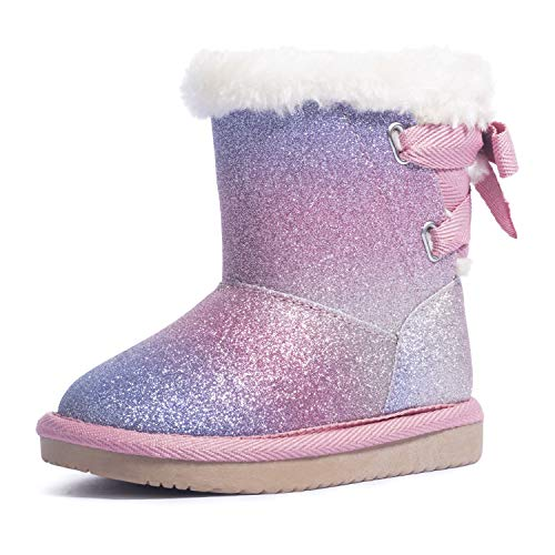 KRABOR Toddler Girls Glitter Winter Boots Warm Fur Lining Non-Slip Snow Shoes with Cute Bow Magic Pink Size 8