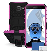 Samsung Galaxy A5 (2016) SM-A510F Pink Black ARMOR Tough Hard Shock Proof Rugged Heavy Duty Case Cover with Viewing Stand and LCD Screen Protector Guard