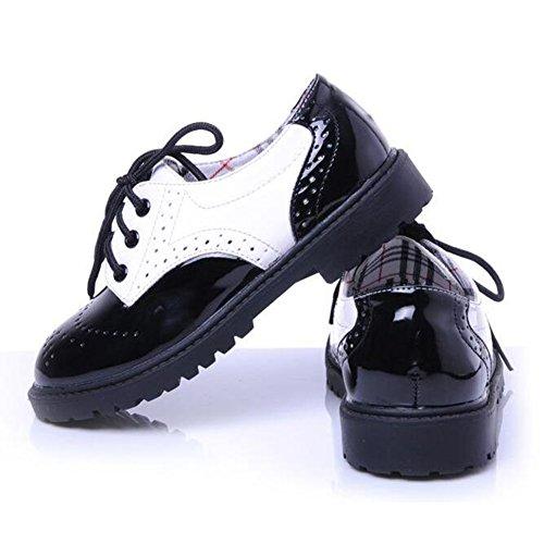 Hibote Babys Kleine Kinder Jungen Mädchen Schnürschuhe Mode PU-Leder Schnürer Low-Top Elegant Party Schuhe Brogue Freizeitschuhe Gr.21-31 Schwarz + Weiß