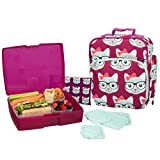 Bentology Lunch Bag and Box Set for Girls - Includes Insulated Bag with Handle, Bento Box, 5 Containers and Ice Pack - Kitty