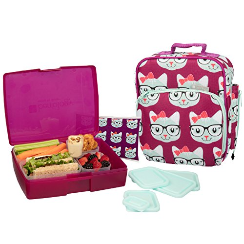 Bentology Lunch Bag and Box Set - Includes Insulated Bag with Handle, Bento Box, 5 Containers and Ice Pack (Kitty)