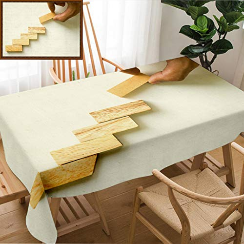 - Unique Custom Design Cotton and Linen Blend Tablecloth Hand Aranging Wood Block Stacking As Step Stair Business Concept for Growth Success ProcesTablecovers for Rectangle Tables, Small Size 48