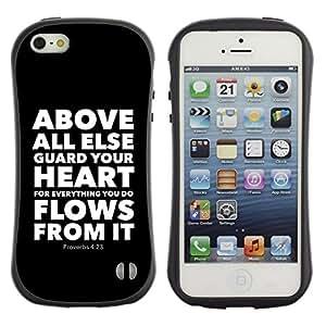 Paccase / Suave TPU GEL Caso Carcasa de Protección Funda para - BIBLE Proverbs 4:23 Above All Else Guard Your Heart - Apple Iphone 5 / 5S