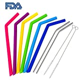 WEBSUN Reusable Silicone Straws Set With Pouch 6 PCS Silicone Straws for 30 oz Yeti Tumbler/Rtic, 2 PCS Metal Stainless Steel Straws & 2 Cleaning Brushes