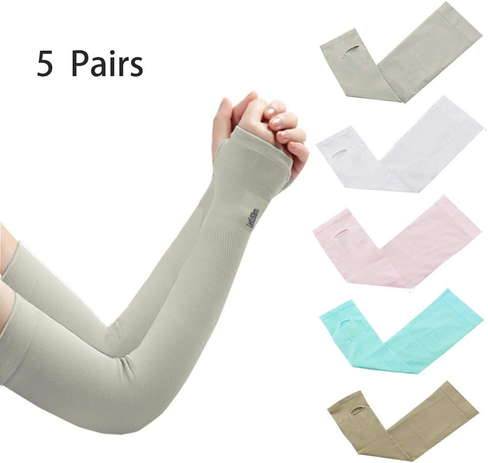 ANIAC Women Girls UV Protection Cooling Arm Sleeves UPF 50+ Sun Protective Accessories Sunblock Gloves Skin Protect Cover Anti UV Cuff for Outdoor and Indoor Activities (Grey+Blue+White+Pink+Nude)