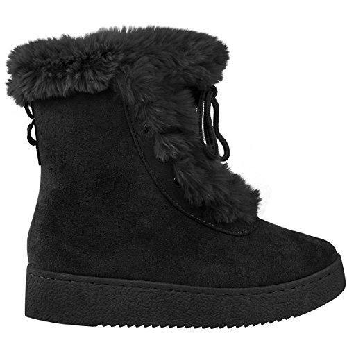 Bow Fashion Black Platform Boots Suede Fur Shoes Size Womens Faux Bow Ankle Faux Laces Thirsty Winter rWCqXrw