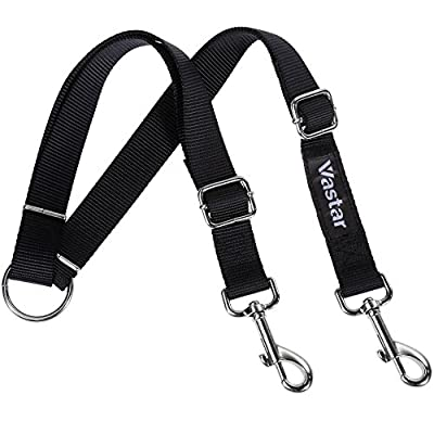 Vastar Double Dog Walker, Adjustable Double Dog Leash for Pets, No Tangle Two Dogs Training Leash for Small/Medium/Large Dog, Premium Quality Dog Leash Coupler for 2 Dogs, 13.8 to 24 Inch
