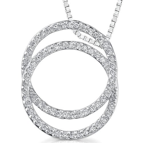 Circle Slider Pendant (Sterling Silver Rhodium Nickel Finish Circles Slider Style Pendant with CZ)