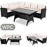 Deuba Poly Rattan Corner Sofa Set | Conservatory Patio Outdoor Garden Furniture | Black Lounge with WPC Table |