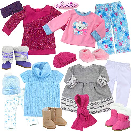 Sophia's 15 Piece Winter Set Includes 3 Sweater Dresses, 2 Pairs of Leggings, 1 Set of Pajamas, 4 Pairs of Shoes, 2 Hats, 1 Knit Headband and 1 Scar for 18 Inch Dolls