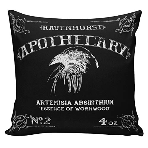 ances Lincol Cushion Cover Pillowcase Halloween Raven Poison Label Gift Cotton and Burlap ()
