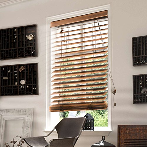 CHICOLOGY Faux Wood Blinds/window horizontal 2-inch venetian slat, Faux Wood, Variable Light Control - Simply Brown, 35'' W X 64'' H by CHICOLOGY (Image #2)