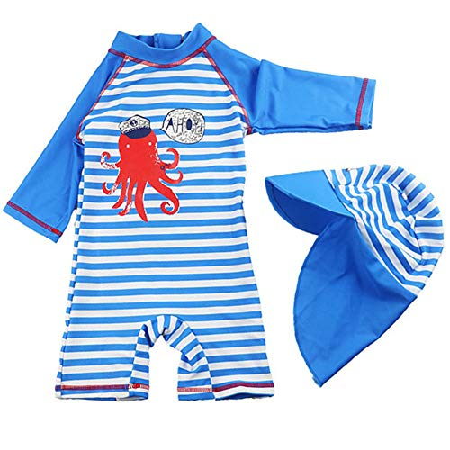 Baby Kids Boys One Piece Blue Stripe Crab Short Sleeve Rash Guard Swimwear Outfit UPF 50+ UV Swimsuit with Sun Hat (18-24 Months)]()