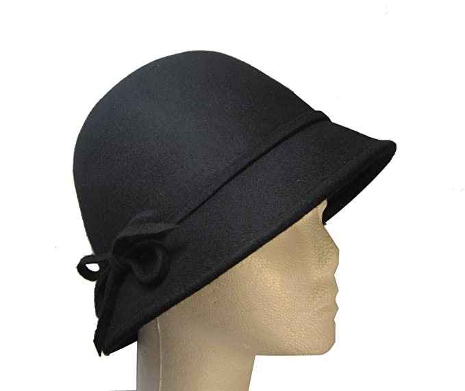 Black Women s Vintage Style Wool Cloche Hat with Felt String Bow by Goal  2020 f659630406c