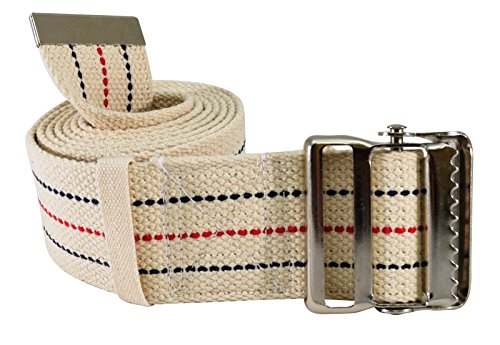 "Secure SGBM-60S Patient Transfer and Walking Gait Belt with Metal Buckle and Belt Loop Holder for Caregiver, Nurse, Therapist, etc. (60"" x 2"" (Beige/Striped))"
