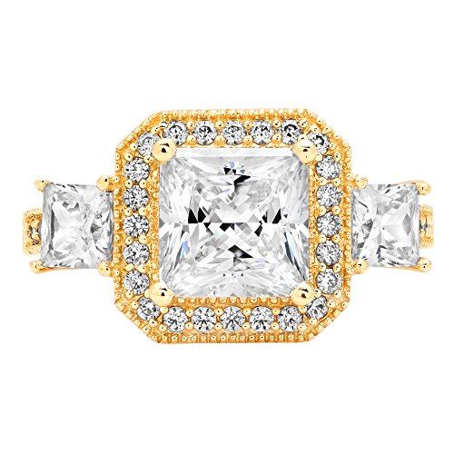 Designer Cz Rings - Clara Pucci 3.03 ct Halo Three Stone Cushion & Princess Brilliant Cut CZ Designer Band Ring in 14K Yellow Gold