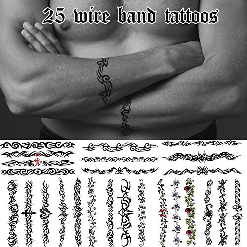 25 Cool Temporary Tattoos Assorted Arm Band and Leg Band Wire Styles – For Adults and Teens – Great on Wrists, Ankles, Arms and Lower Legs