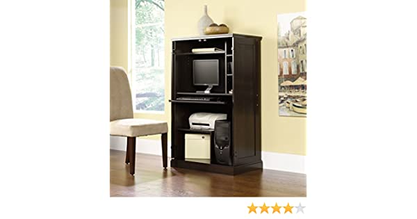amazoncom commercial home office computer armoire wood cabinet dark cinnamon cherry red finish 3 adjustable shelves cpu tower heat stain and scratch
