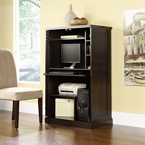 Commercial Home Office Computer Armoire wood cabinet Dark Cinnamon Cherry Red Finish 3 adjustable shelves CPU tower heat stain and scratch resistant Dimensions 51.9