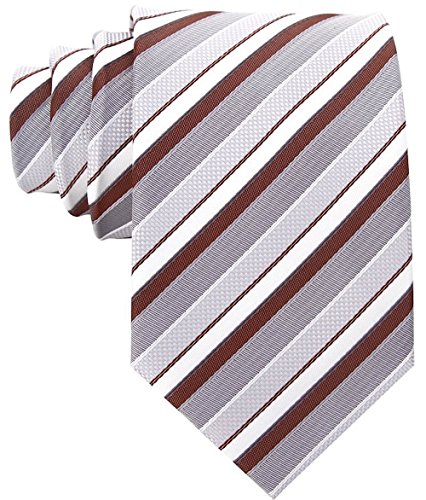 Striped Ties for Men - Woven Necktie - Brown (Pink Brown Striped Tie)