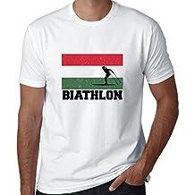 Hollywood Thread Hungary Olympic - Biathlon - Flag - Silhouette Men's T-Shirt