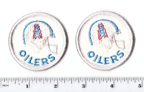 Vintage Iron On Transfers - Set of 2 Vintage 1980s NFL Houston Oilers 2 Inch Round PATCH (sew or iron on)