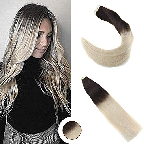 Ugeat 14inch Tape in Hair Extensions Human Hair 20pcs/50g Two Tone Color #2 Darkest Brown Fading to #60 Platinum Blonde Ombre Seamless Tape in Human Hair Extensions Remy Hair