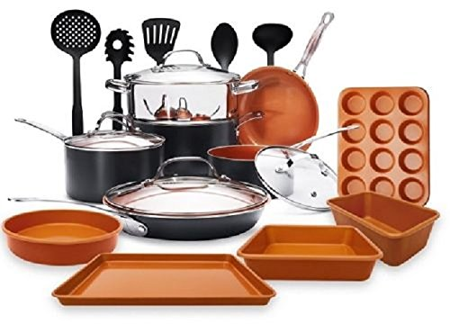 Gotham Steel 20 Piece All in One  Kitchen Cookware + Bakeware Set with Non-Stick Ti-Cerama Copper Coating – Includes Skillets, Stock Pots, Deep Square Pan with Fry Basket, Cookie Sheet and Baking Pans by GOTHAM STEEL