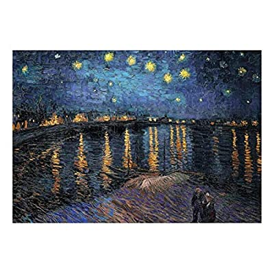 Unbelievable Print, Professional Creation, Starry Night Over The Rhone by Vincent Van Gogh Dutch Impressionism 20th Century Artist Peel and Stick Large Wall Mural Removable Wallpaper