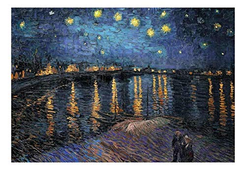 (wall26 - Starry Night Over The Rhone by Vincent Van Gogh - Dutch Impressionism - 20th Century Artist - Peel and Stick Large Wall Mural, Removable Wallpaper, Home Decor - 100x144 inches)