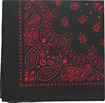 "Black & Red Trainmen Paisley Jumbo Military Bandana (27"" x 27"")"